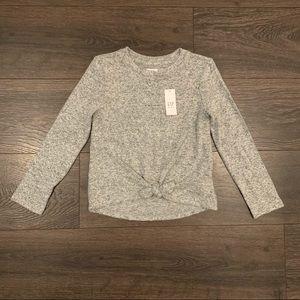 NWT Gap Gray Front Knot Long Sleeve Shirt, Sz S